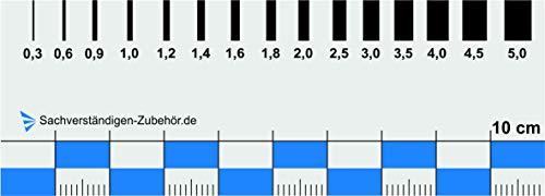 Sachverständigen-Zubehör - Rissbreitenlineal | Dokumentationshilfe praktisches Risslineal | Riss Karte Fotodokumentation | exaktes Rißlineal (10 cm)