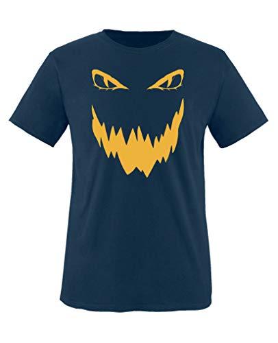 Comedy Shirts - Boese Fratze - Halloween - Jungen T-Shirt - Navy/Gelb Gr. 110-116