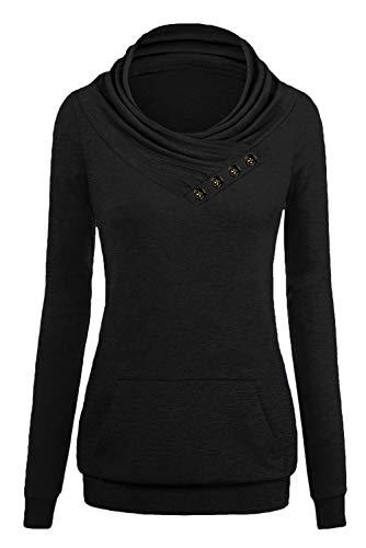 Dasbayla Lange Ärmel Jumper Tshirt Top Sweatshirt Frauen Pullover Rollkragen Oberteile Schwarz XL