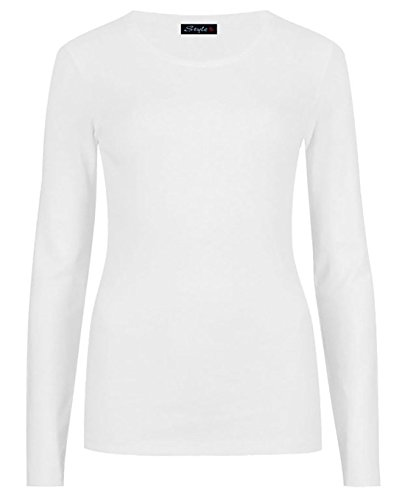 Ladies Long Sleeve T-Shirt Top Womens Size 8-14 ('M/L' 12-14, White)