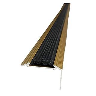 Anodised Aluminium Stair Nosing Edge Trim Step Nose Edging Nosings - Titanium, Silver, Gold -2.4 Meter Length by TMW Profiles (Gold)