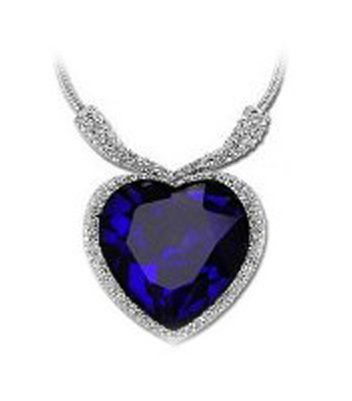 Ciondolo in cristallo a forma di cuore, placcato in oro bianco, include collana, colore: blu - Crystal Cuore Pendente Floating