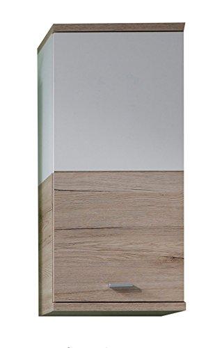 Trendteam 1316-501-91 - armadietto per bagno da parete campus, effetto legno di rovere san remo, 36 x 79 x 22 cm, colore bianco