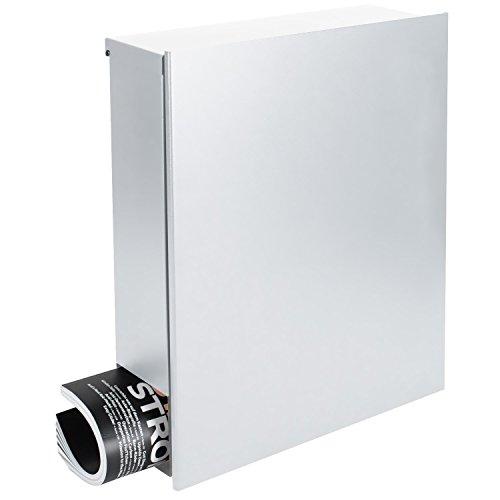 Design-Briefkasten mit Zeitungsfach 12 Liter signal-weiß (RAL 9003) MOCAVI Box 111 Wandbriefkasten Postkasten