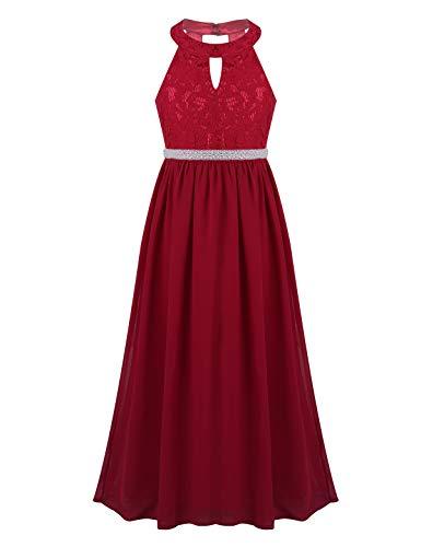 Tiaobug Mädchen Kleid Kinder festlich Spitzen langes Kleid Hochzeit Partykleid Blumenmädchenkleid 104 116 128 140 152 164 Dunkelrot mit Gürtel 116/6 Jahre
