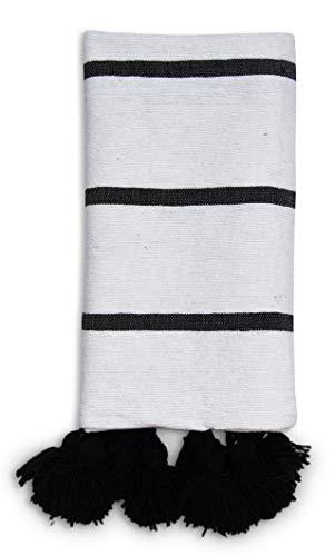 Park Plaid (Handgewebte Pompom Decke - 100% Baumwolle und Wolle - 1x1,8 m - Tagesdecke, Überwurf, Marokkanische-bettwäsche, fürs Bett, Sofa, den Stuhl oder für das gemeinsame Picknick im Park)