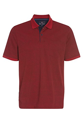 Paul R.Smith Pflegeleichtes Herren Polo Shirt Polokragen Geknöpft Brusttasche Easycare Poloshirt Herrenshirt Kurzarmshirt Brusttasche Pflegeleicht knitterarm Freizeitmode Rot,XL (Herren-polo-polos)