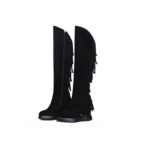 Wildleder mit Fransen Stiefel mehr Casual Leder Keile Plattform Oberschenkel hoch ¨¹ber dem Knie Wildleder Bootie , 34