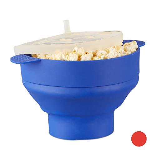 Relaxdays Popcorn Maker Silikon für Mikrowelle, zusammenfaltbarer Popcorn Popper, Zubereitung ohne Öl, BPA-frei, blau
