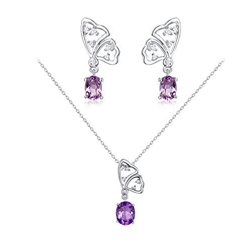 WANZIJING 2 Stück Sterlingsilber Schmetterlingsschmuck Set, Amethyst Pink Crystal Anhänger Halskette Ohrringe für Frauen - Schmutz Billige Kostüm Schmuck
