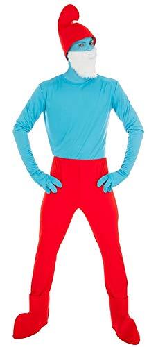 Generique - Die Schlümpfe-Papa Schlumpf Kostüm für Erwachsene blau-rot ()