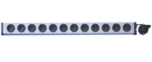 Ehmann 100007 Universal Steckdosenleiste 12-fach, silber-schwarz