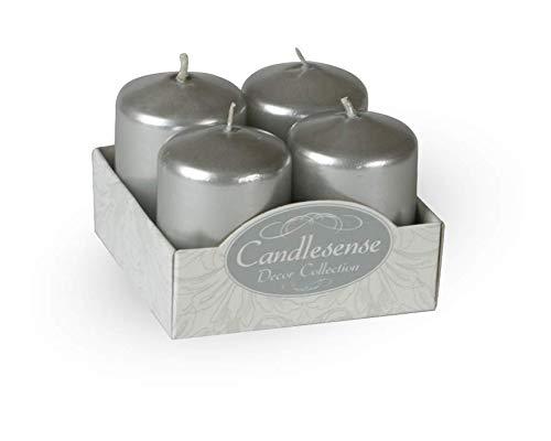 Candlesense Velas, EN Cera, DE, 4X 6, Color Plata Metalizado, duración 7H, Juego de 4pcs