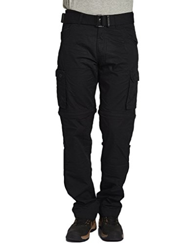 BEEVEE-MENS-100-COTTON-SOLID-BLACK-FIXED-WAIST-CARGO-WITH-BELT