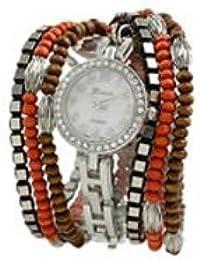 Geneva Platinum cuentas wrap watch-coral