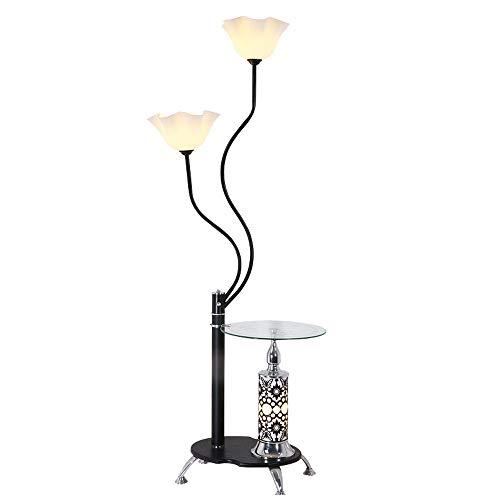 QZZZ Stehlampe Wohnzimmer Schmiedeeisen Stehleuchte mit Glas Couchtisch für Schlafzimmer Arbeitszimmer Modern Einfache Design