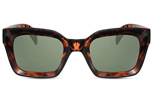 Cheapass Sonnenbrille Damen Schwarz Braun Leopard Groß Breit 3D-Front Cat-Eye Recht-Eckig Designer-Brille Frauen