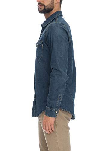Camicia Jeans Uomo Roy Rogers Denim Dark Blu ef434fa0f92