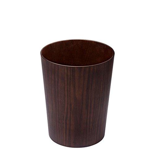 LyJ+evanism Abfalleimer für den Hausmüll Hölzerner Mülleimer, einfaches Zuhause kreativer Lagerplatz, Wohnzimmer großer Mülleimer, Bürokorb (Farbe : Dunkelbraun)
