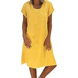 Vectry Vestidos De Fiesta para Bodas Talla Grandes Vestidos Playa Mujer Vestidos Casuales Vestido Midi Vestido Verano Vestidos Mujer Vestido (Amarillo, L)