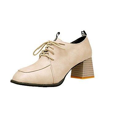 RTRY Donna Tacchi Scarpe Formali Cadono Pu Abbigliamento Casual Lace-Up Chunky Tacco Beige Marrone Nero 2A-2 3/4In US6.5-7 / EU37 / UK4.5-5 / CN37