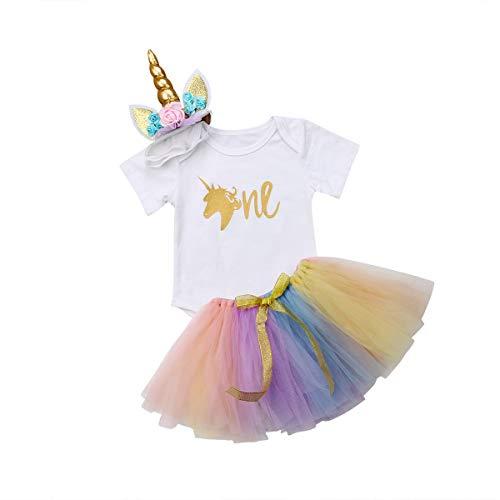 Wide.ling Mädchen Newborn 1. Geburtstag 3 Stück Outfits Strampler + Tutu Kleid + ()