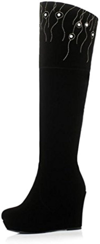 Best 4U® Zapatos de mujer Botas de gamuza Otoño Invierno Suela de goma Puntera redonda Cuña fornida Rodilla Botas... -