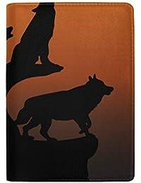 Lobo Aullando con la Cabeza levantada en una Roca Bloqueando Estuche de la Funda del Pasaporte