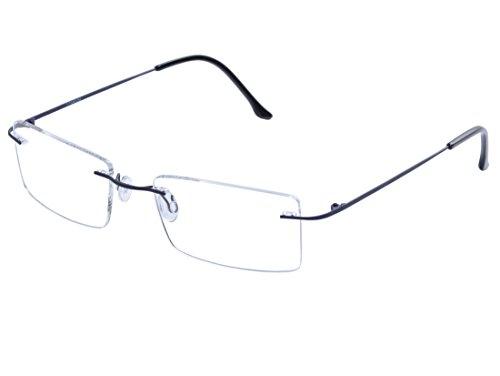 DEDING Titan randlose Brille Brillenfassung (dunkles Blau) (Brillengestelle Für Männer Titan)
