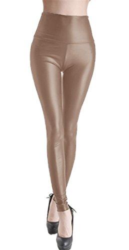 Sexy stretch PU Leder Leggings Leggins PU Leder-Optik, hüfthoch schlank Hose Kunstleder Treggins (L (110cm/ 63cm/ 84cm), Dunkel Kaffee)