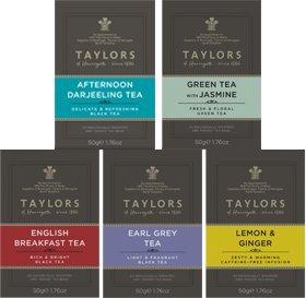 Mélange assorti Taylors: 2 petits déjeuners anglais, 1 thé Earl Grey, 1 thé Darjeeling l'après-midi, 1 thé vert au jasmin, 1 infusion citron et gingembre / Assortiment de thé et infusions: 2 x petit déjeuner anglais noir au thé, 1 x thé noir à la bergamot