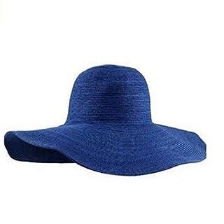 ANKKO Women's Ridge Wide Floppy Brim Summer Beach Sun Hat Straw Cap Party Garden Travel for Set of 1pcs (Deep Blue)