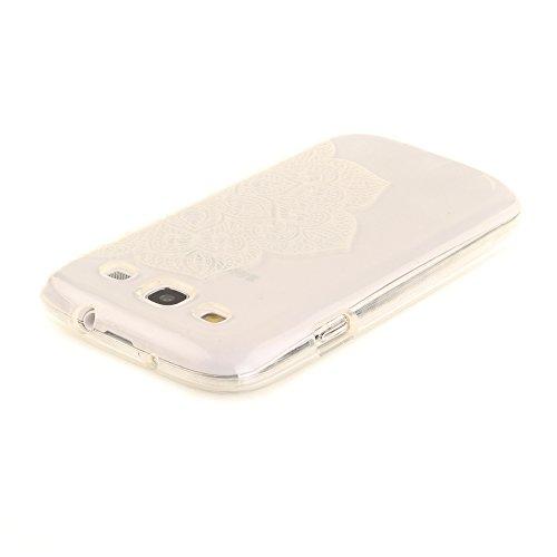 Samsung Galaxy S3 / I9300 hülle,MCHSHOP Ultra Slim Skin Gel TPU hülle weiche Silicone Silikon Schutzhülle Case für Samsung Galaxy S3 / I9300 (4,8 Zoll) - 1 Kostenlose Stylus (Schwarze Mandala Blume) Halbe weiße Blüten