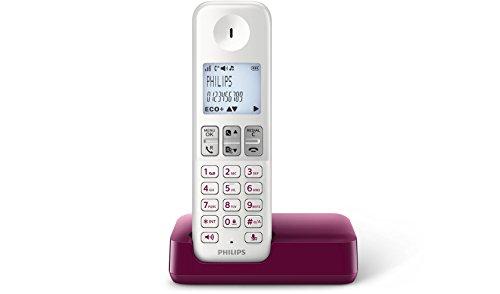 Philips D2301WP - Teléfono inalámbrico con pantalla iluminada de 4.6 cm, 16hrs conversación, blanco y morado
