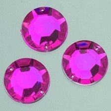 EFCO sfaccettatura a 2 fori, colore: rosa con gemme Decorative Stone, in acrilico, colore: rosa brillante, 10 mm, 100 pezzi