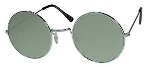 Immerschön Sonnenbrille große Gläser silber verspiegelt John Lennon Ozzy Osbourne Style Hippie Retro 70´s Woodstock Party