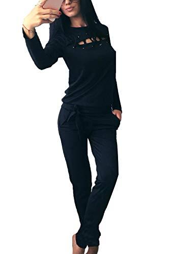 Minetom Donna Moda Casual Chic Tuta da Ginnastica Tute Felpa Tunique Training Jogging Fitness Abbigliamento Sportivo Pullover Giacca e Pantaloni Nero IT 46