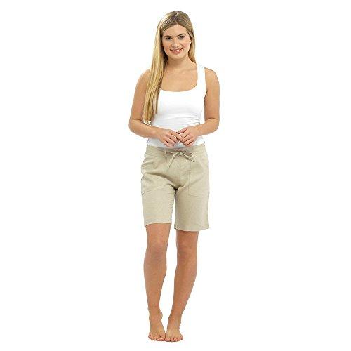Femme pour l'été lin Short avec cordon de serrage, poches & & tailles différentes couleurs Stone