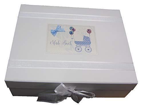 """White Cotton Cards WDTB2X Erinnerungsschachtel für Kinderwagen, Motiv""""Welsh 'Mab Bach"""", groß, Blau"""