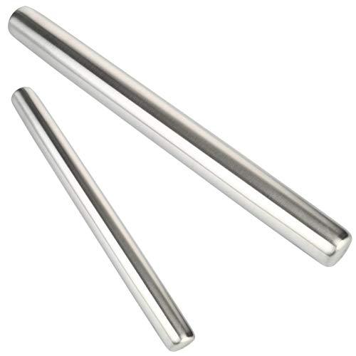 Nudelholz Edelstahl Teigroller Set 2tlg | 40cm 30cm | Rostfrei - Antihaft | Ausrollstab für Fondant / Teig