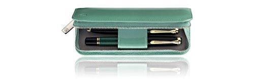 Pelikan 973305 Schreibgeräte-Etui Lackleder Stiftablagen, 1 Stück, grün