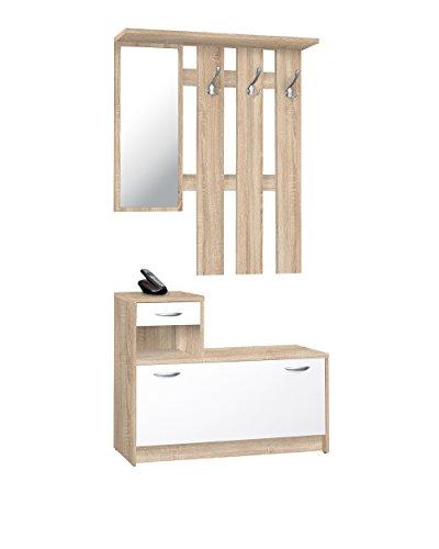 Avanti trendstore - rudolf - guardaroba da ingresso, in imitazione di quercia sonoma/bianco, dimensioni lap ca. 100x180x25 cm