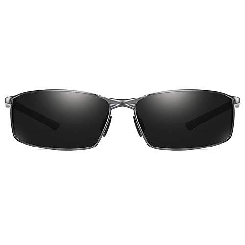 WULE-Sunglasses Unisex Gun Frame Discolour/Black Lens Herrensonnenbrille Neue vielseitige polarisierte Metallsonnenbrille (Farbe : Black)