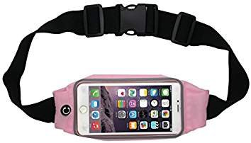 Advent BasicsTM Adjustable waterproof Mobile Waist Pouch Bag Case Cover with Transparent Clear View Touch Screen with headphone jack slot Compatible With IPhone 7 | 6 | 6S | 5S | SE | 5C | 4S | 4 Samsung Galaxy S4 S5 Mini S6 Size 4.7 to 5.5 inch Phone (Off Pink)  available at amazon for Rs.399