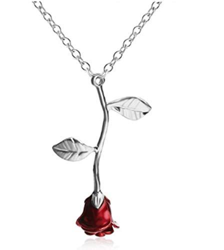 KLKL Frauen Halsband Rose Gold Farbe Blumen -Anhänger -Charme -Schmucksachen Nizza Geschenke Verpflichtungs -Hochzeit Geschenk