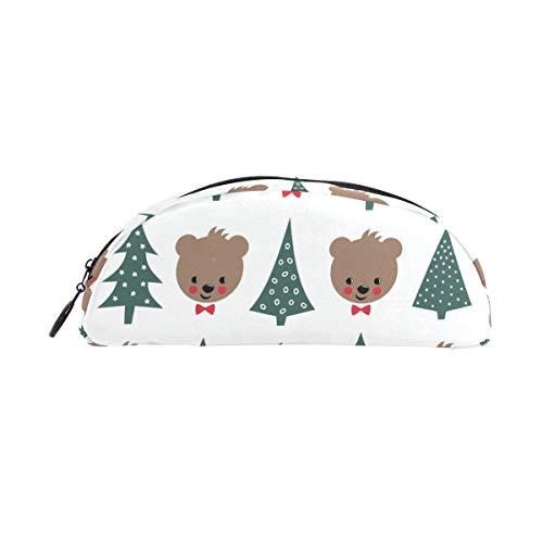 Bär Weihnachten Theme Design Federmäppchen Reißverschluss Schreibwaren Stiftehalter Tasche Leichtgewicht Multifunktional Kosmetik Make-up Tasche für Schule Arbeit Büro Reisen ()