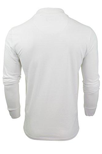 "Brave Soul - Herren Polo T-Shirt ""Lincoln"" Pique Lange Ärmel Optic Weiß"