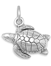 Oxidized Sterling Silver 18mm X 20mm Sea Turtle Charm