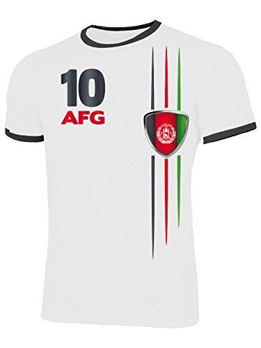 Afghanistan 5840 Fussball Fanshirt Fan Shirt Tshirt Fanartikel Artikel Männer Herren Ringer T-Shirts Weiss Schwarz L