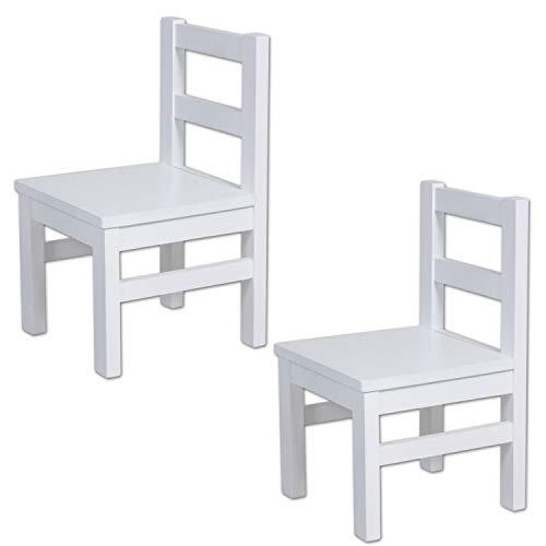 Zweier Set: Bubema Kinderstuhl aus massiver Buche, weiß lackiert, extra stabil -
